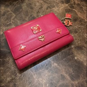 MCM pink leather wallet
